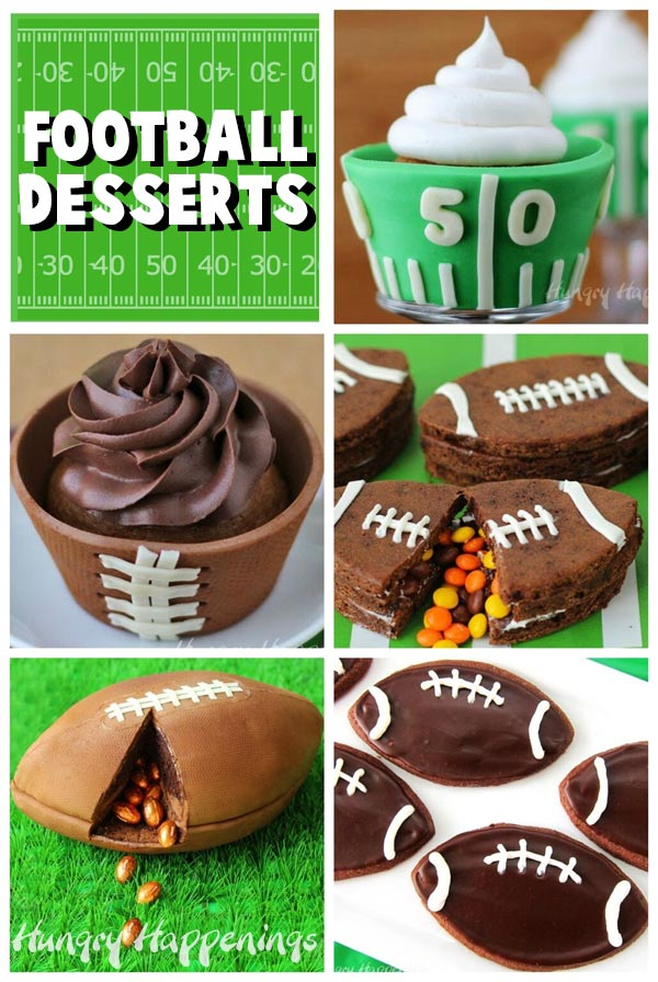 Collage of images featuring football desserts including a Football Field Cupcakes, Candy Filled Football Cookies, Football Cake, Football Cupcake, and Frosted Football Cookies.