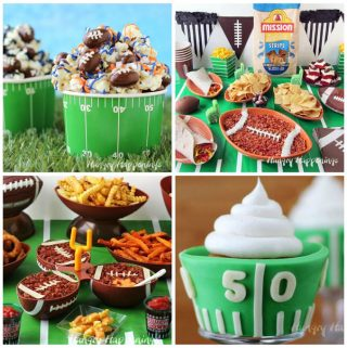 4 images of super bowl food including football popcorn, artichoke dip football, beer cheese football with french fries, and football field cupcake