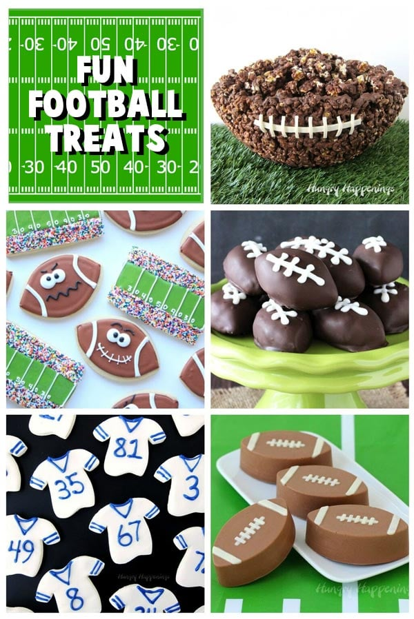 Collage of images featuring football treats including Chocolate Popcorn Bowl Football, Football Cookies, Cookie Dough Footballs, Fudge Football Jerseys and Candy Footballs.