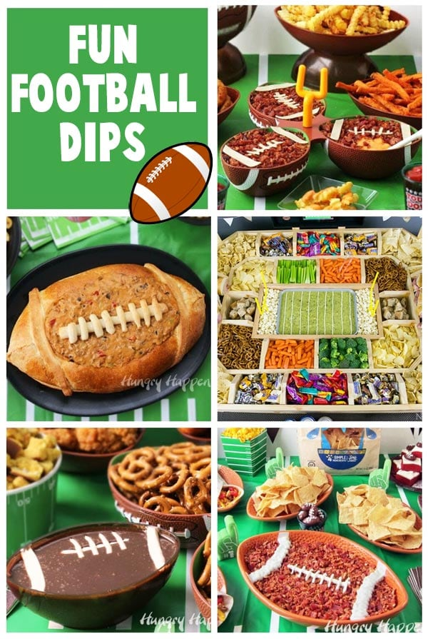 collage of images of Super Bowl Dips including Beer Cheese Football Dip, Taco Dip Football, Snack Stadium Dip, Chocolate Football Dip and more.