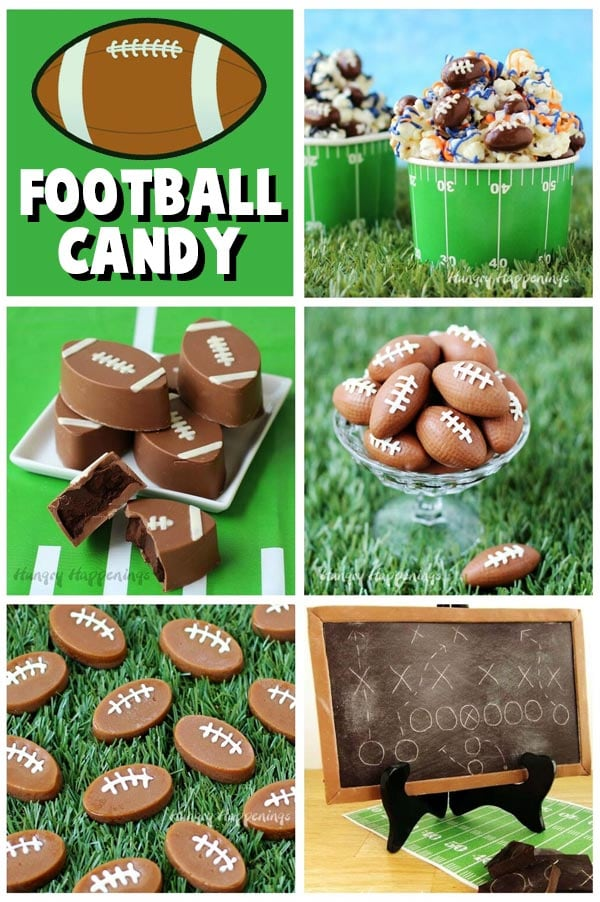 Collage of images showing football candy including Chocolate Almond Footballs, Ritz Cracker Candy Footballs. Fudge Footballs, Caramel Footballs, and a game day chocolate chalkboard.