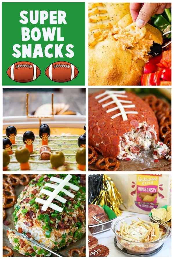 Collage of images showing Super Bowl Party Food including dips, cheese balls, and more.