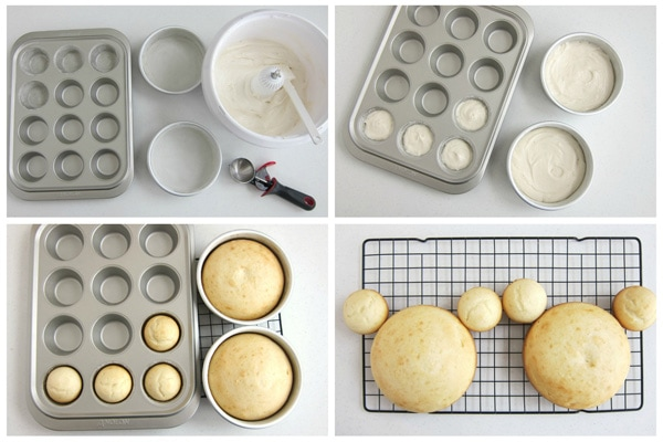 collage of images showing how to bake two 6-inch round cakes and 4 cupcakes