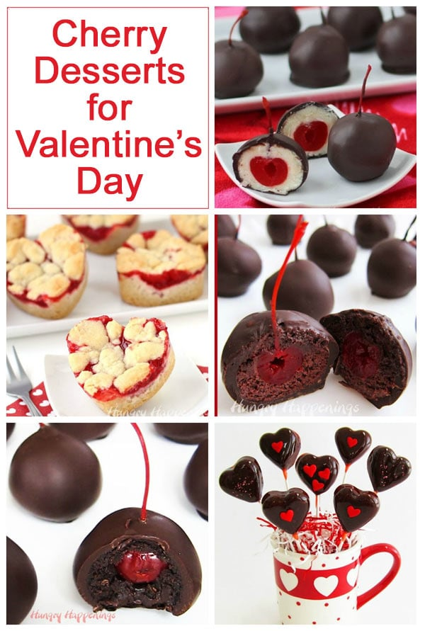 collage of images featuring cherry desserts that are perfect for Valentine's Day.