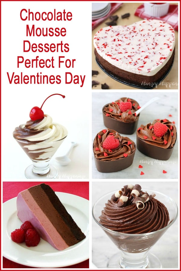 Collage of chocolate mousse dessert images featuring Black and White Mousse, Chocolate Heart Mousse Cups, a Triple Layer Raspberry Mousse Cake and more.