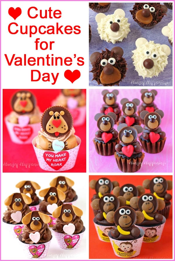collage of images featuring cute cupcakes for Valentine's Day including bear, lion, puppy, and monkey cupcakes