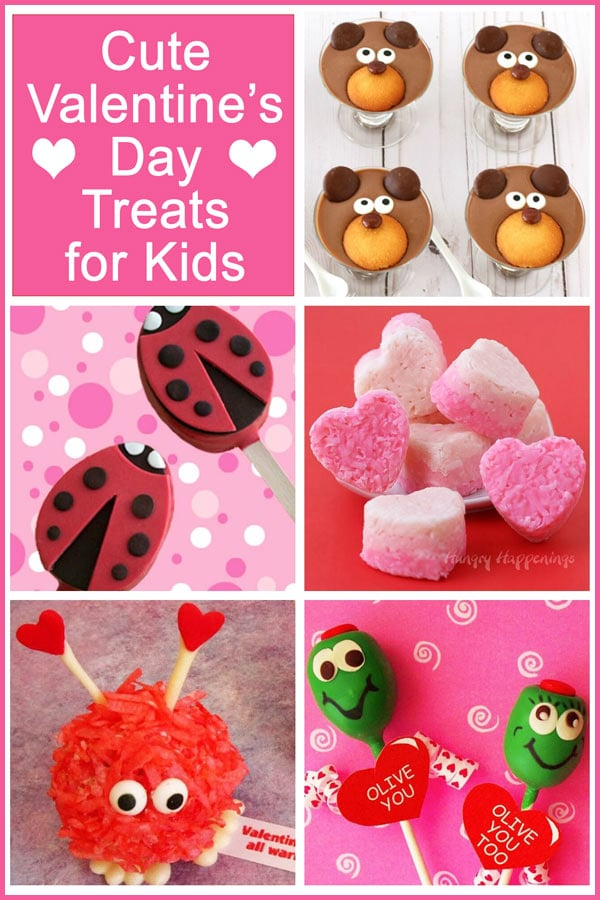 collage of images featuring cute treats for kids for Valentine's Day