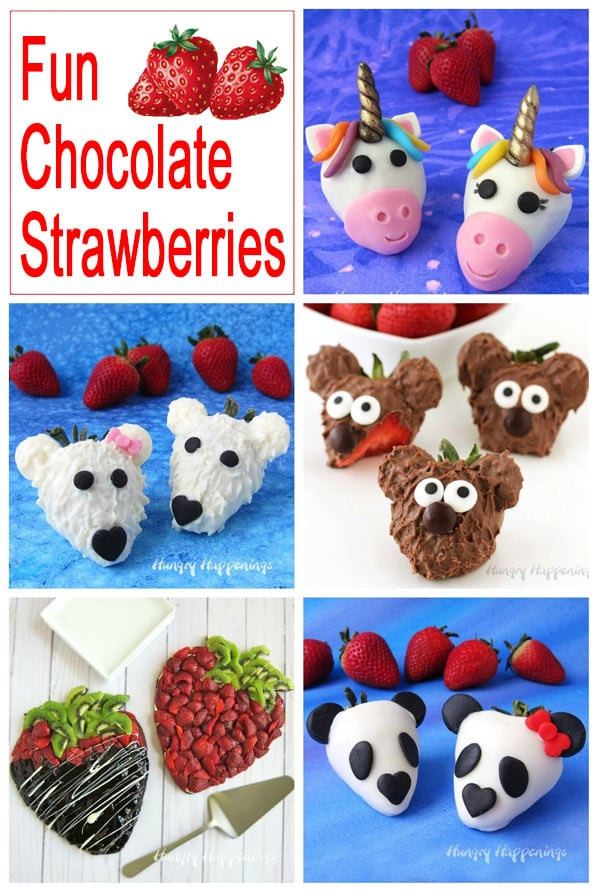 collage of chocolate strawberries including unicorns, polar bears, teddy bears, and panda bears, as well as, fruit pizza strawberries