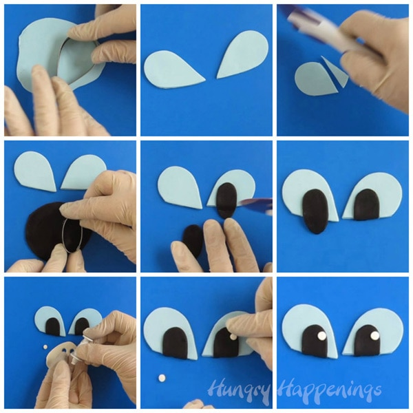 collage of images showing how to cut and create light blue modeling chocolate eyes for a Light Fury cake.