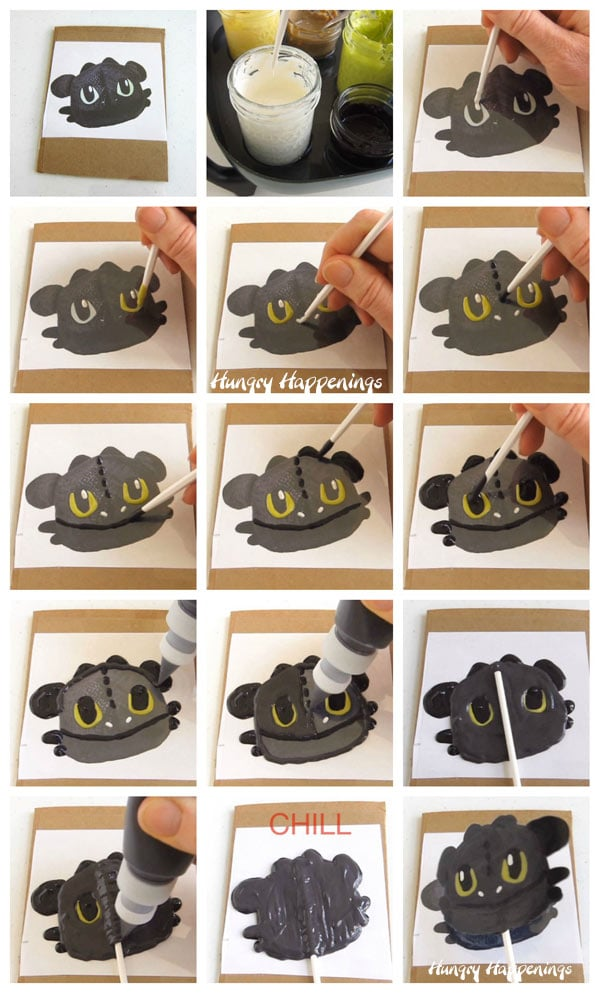 Collage of images showing the step-by-step process for painting and piping colored candy melts over an acetate covered template to create a Night Fury (Toothless) Lollipop.