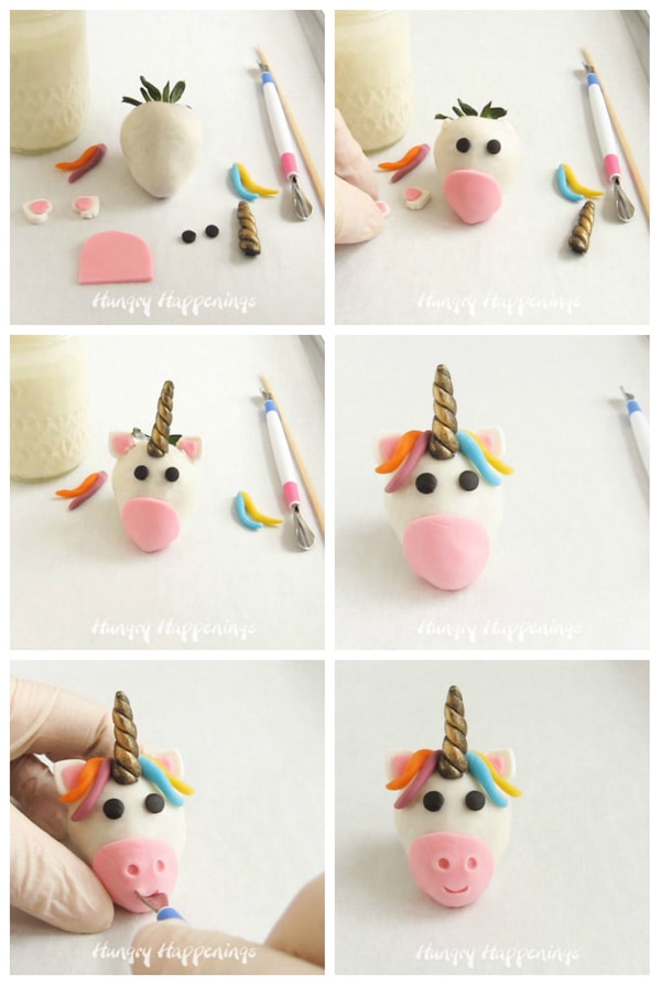 step-by-step images showing how to add the modeling chocolate eyes, muzzle, mane, and horn to the white chocolate dipped strawberry unicorn
