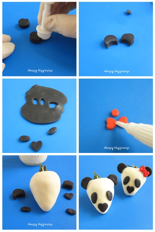 collage of images showing how to decorate white chocolate dipped strawberry panda bears with modeling chocolate ears, fur patches, nose, and bow