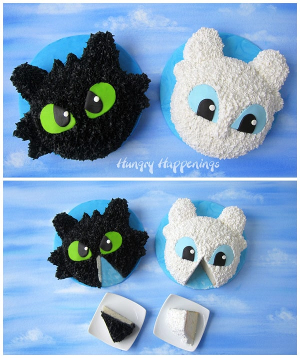How to Train Your Dragon Cakes - Toothless and Light Fury