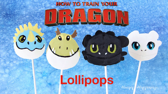 How to Train Your Dragon Lollipops with text overlay