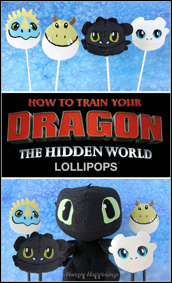 Collage of images showing the four How To Train Your Dragon Lollipops and a picture of a Toothless plush toy sitting next to the Toothless, Light Fury, Meatlug, and Stormfly lollipops.