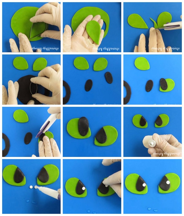 collage of images showing how to make modeling chocolate eyes for the Toothless cake