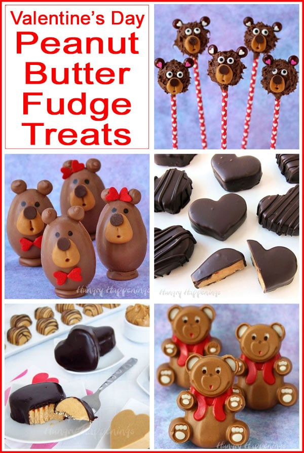Collage of images featuring Peanut Butter Fudge Treats for Valentine's Day including Buckeye Bears, Peanut Butter Fudge Hearts, Fudge Bears, and more.