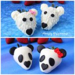 white chocolate dipped strawberry polar bears and panda bears on blue backgrounds set in front of fresh strawberries