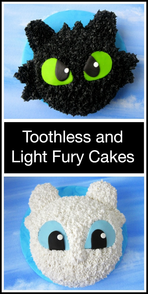 A collage with an image of a Toothless Cake above and image of a Light Fury cake with text overlay.