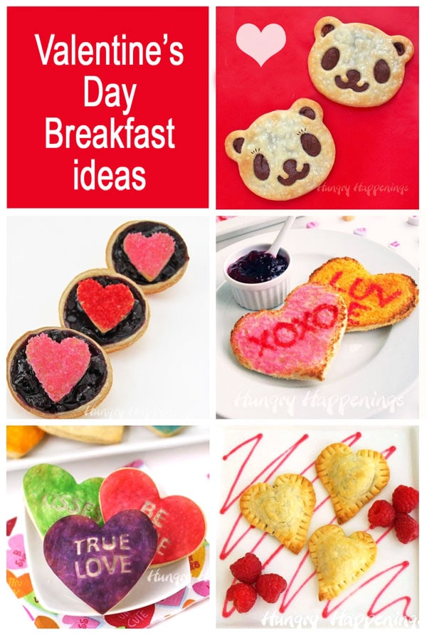Collage of images showing breakfast ideas for Valentine's Day including Conversation Heart Toast and Pastries, Panda Bear Pastries, and more.