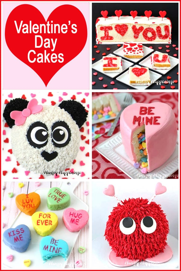 Collage of images featuring Valentine's Day Cakes including Conversation Heart Cakes, Warm Fuzzy Cake, Panda Bear Cakes and more.