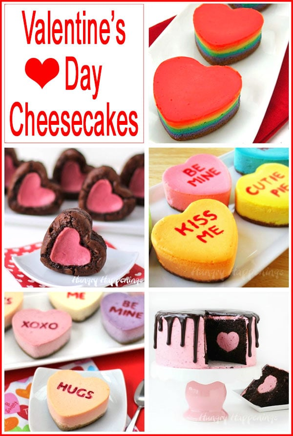 collage of images featuring heart shaped cheesecakes for Valentine's Day
