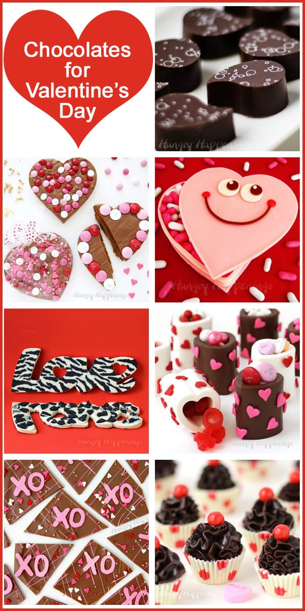 collage of images featuring chocolates that are perfect for Valentine's Day including chocolate bark hearts, chocolate heart cups, and chocolate truffles