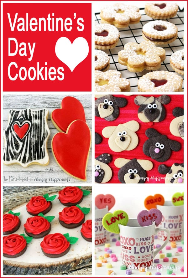 collage of images featuring Valentine's Day cookies including conversation hearts. linzer cookies, puppy love cookies and more.
