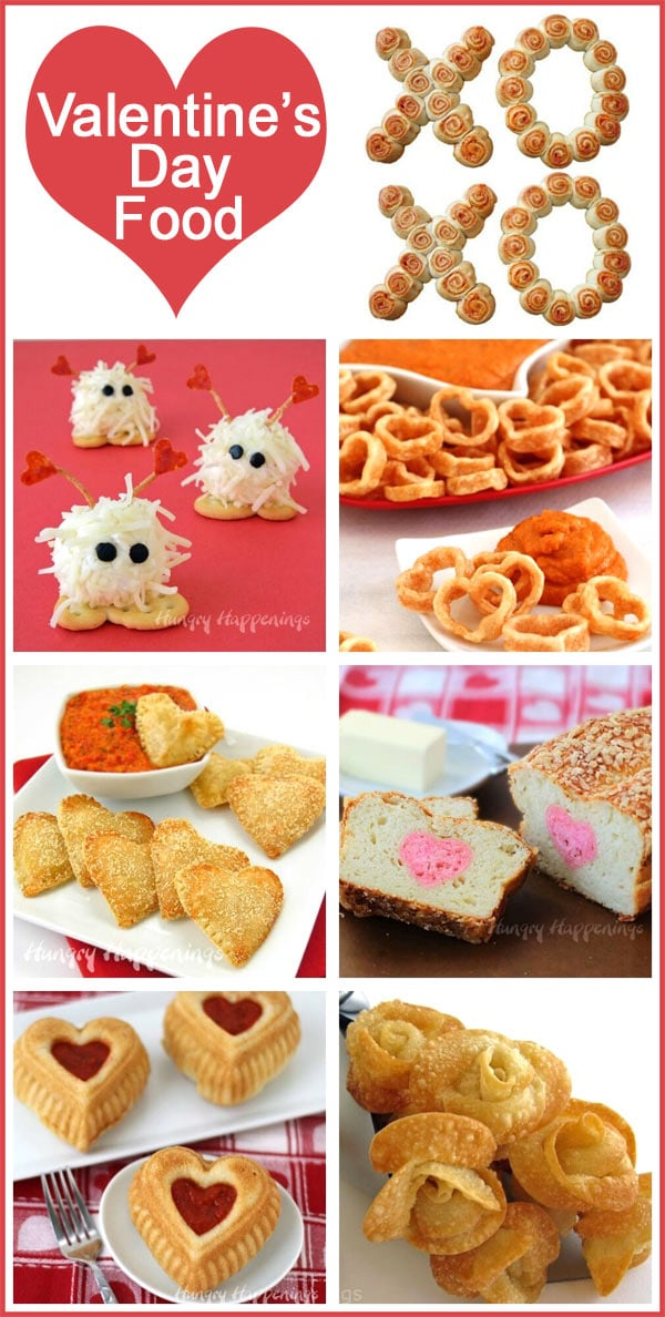Collage of images featuring Valentine's Day appetizers including Warm Fuzzy Cheese Balls, Won Ton Roses, Cheesy Heart Pastries and more.