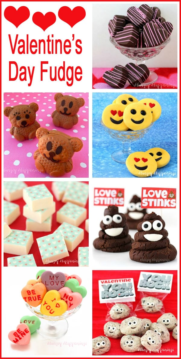 Collage of images featuring Valentine's Day fudge including Fudge Bears, Emoji Fudge,