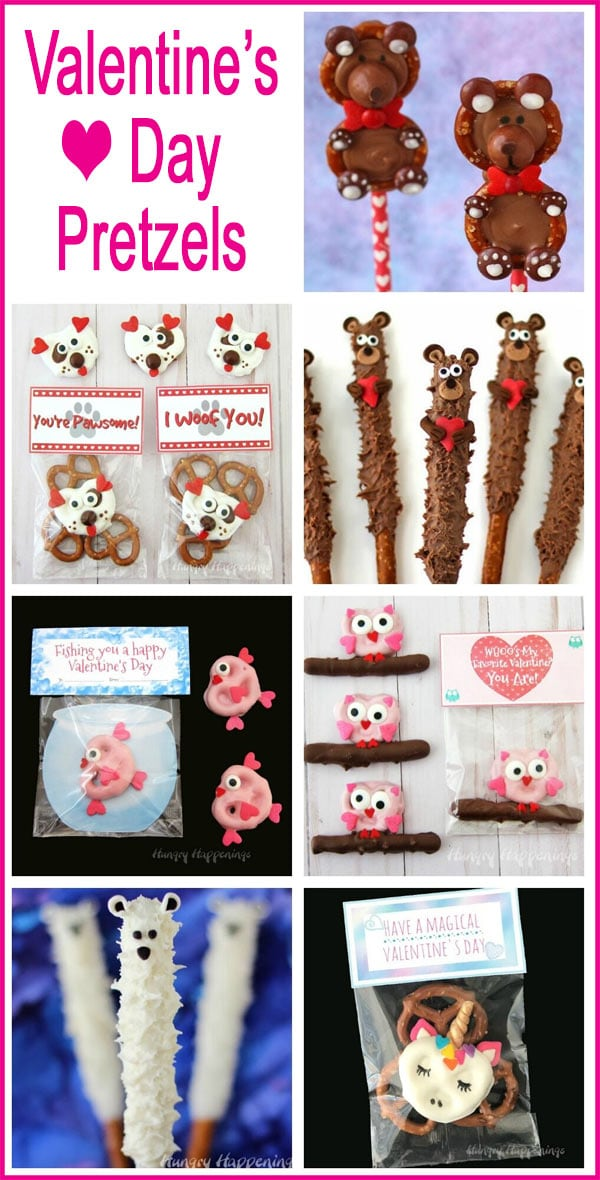 Collage of images featuring Valentine's Day Pretzels including Chocolate Pretzel Teddy Bears, Pretzel Owls, Puppy Pretzels and more.