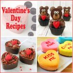 collage of Valentine's Day recipe images including Chocolate Teddy Bear Cupcakes, Conversation Heart Cheesecakes, and Chocolate Mousse Cups.