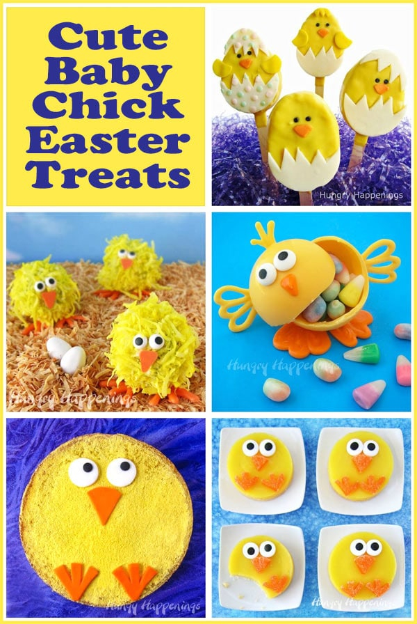 collage of images featuring Baby Chick Easter Treats including Lemon Bar Chicks, Coconut Cake Ball Chicks, Rice Krispie Treat Chicks and more