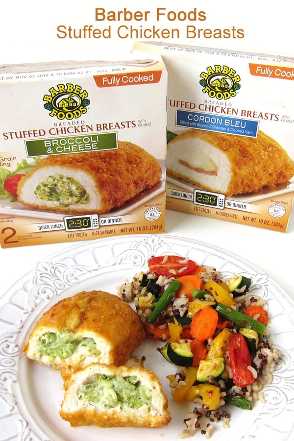 Barber Foods Stuffed Chicken Breasts are available in Broccoli and Cheese or Cordon Bleu