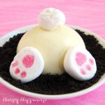 a cute Bunny Butt Cheesecake served on an OREO Cookie crumb crust