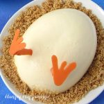 closeup of one hatching chick cheesecake
