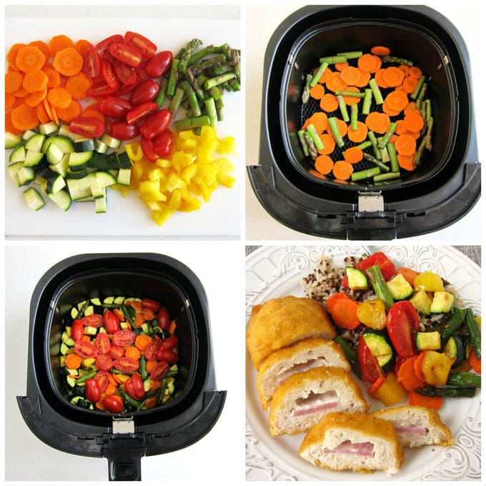 chop peppers, tomatoes, asparagus, zucchini, and carrots and cook them in an air fryer.