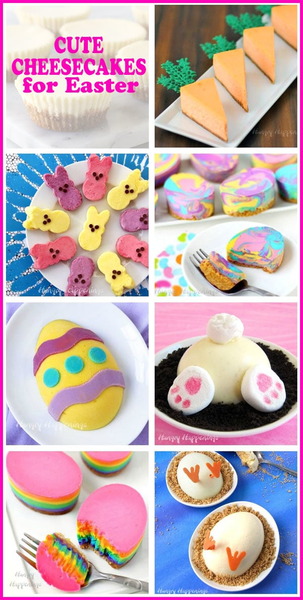 collage of images featuring Easter cheesecakes including Easter Eggs, Peeps, Carrots, and Bunny Butts.