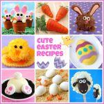 collage of 8 cute Easter desserts and appetizers including Carrot Thief Cupcakes, Crescent Roll Carrots, and Hatching Hard Boiled Eggs