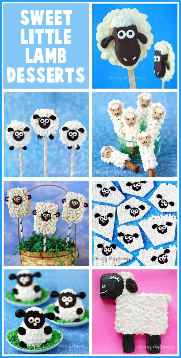 collage of images featuring Cute Little Lamb Treats including Pretzel Pops, Lamb OREO Pops. Fuzzy Lamb Rice Krispie Treats and more.