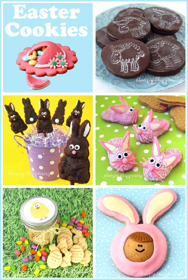 collage of images featuring Easter cookies like Pink Bunny Slipper Cookies, Chocolate Lamb Cookies, Easter Animal Crackers and more