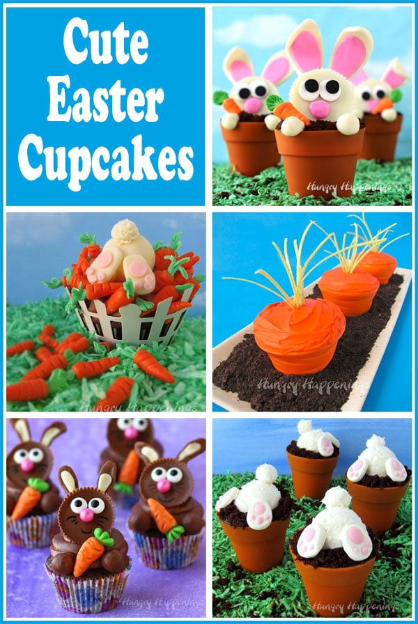 collage of Easter cupcakes including Carrot Thief Cupcakes, Bunny Butt Cupcakes, Carrot Cupcakes and more.