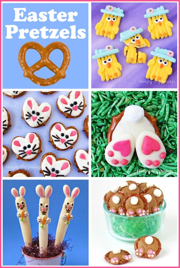 collage of images showing homemade Easter pretzels including bunnies and chicks
