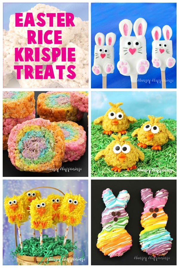 collage of Easter rice krispie treats including bunnies, chicks, and pinwheels