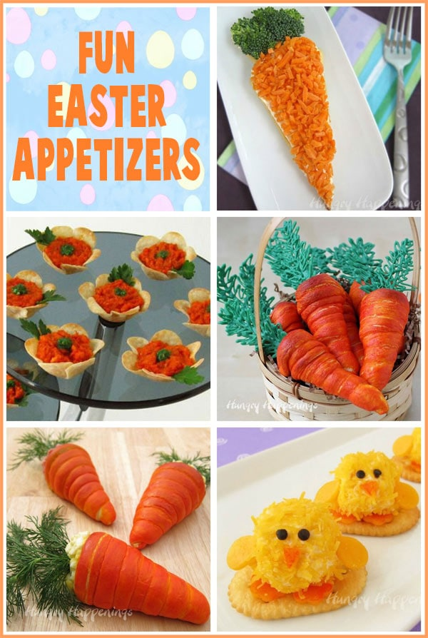 collage of images featuring Easter appetizers including Crescent Roll Carrots, Baby Chick Cheese Balls, Veggie Pizza Carrot and more.