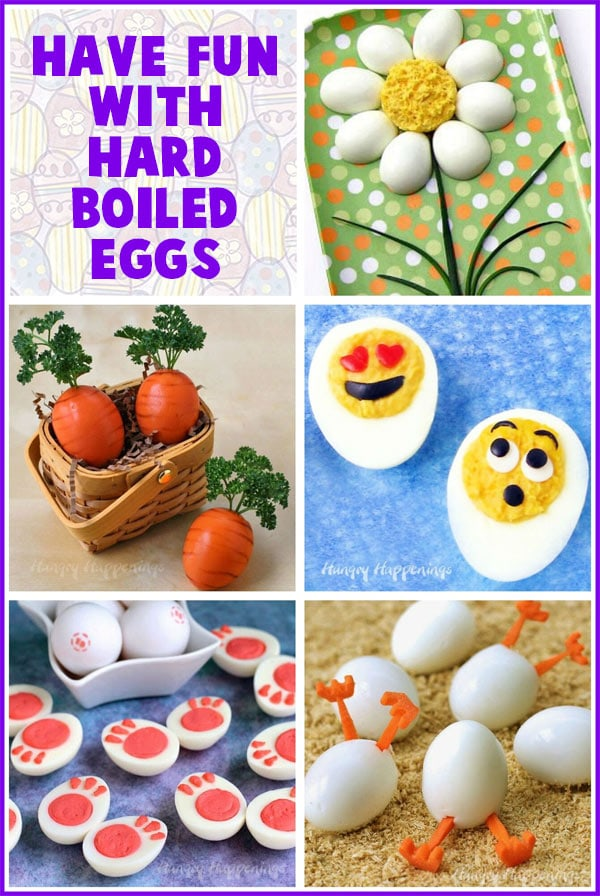 collage of images featuring fun hard boiled eggs for Easter including a Deviled Egg Daisy, Hatching Hard Boiled Eggs, Carrots, Emoji, and bunny feet.