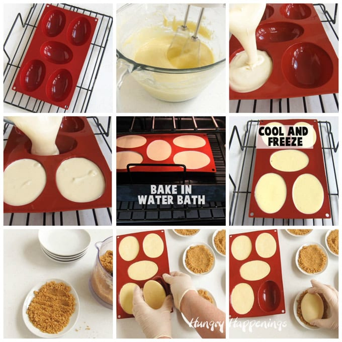 collage of images showing how to make egg shaped cheesecakes using a silicone mold