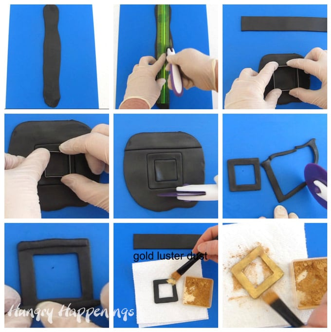 collage of images showing how to cut a hat band and buckle out of modeling chocolate then add gold luster dust to the buckle