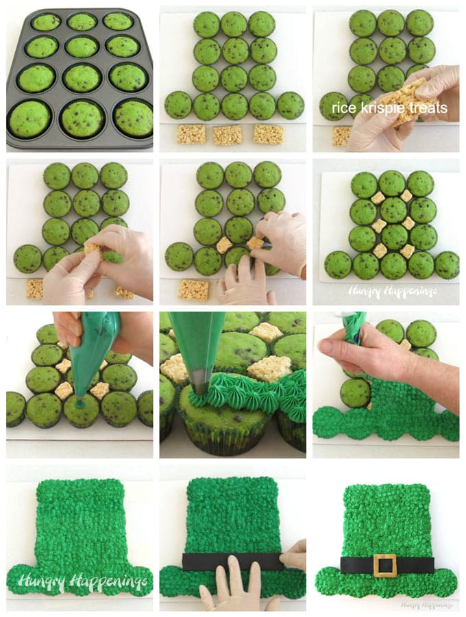 collage of images showing how to arrange the mint chocolate chip cupcakes into a Leprechaun Hat then how to insert rice krispie treats in between the cupcakes before piping on green frosting and adding a modeling chocolate hat band and buckle