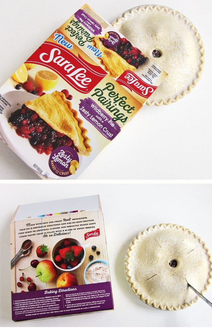 frozen Sara Lee Perfect Parings Wildberry Pie coming out of box